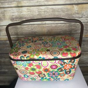 Vintage sewing basket box hippy 70s groovy flowers